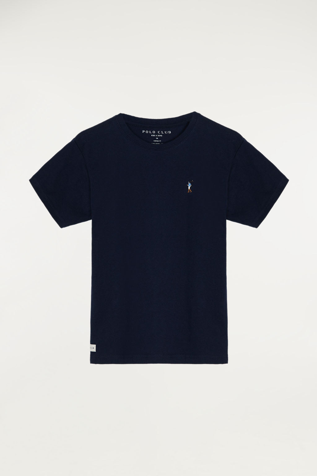 Navy blue tee with small multicoloured embroidered logo