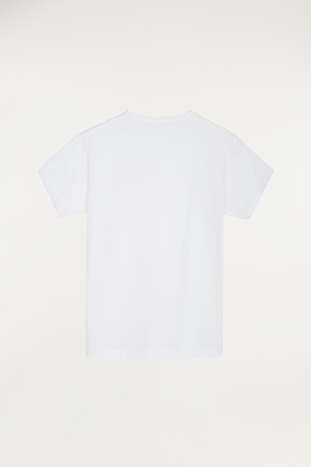 White tee with small multicoloured embroidered logo