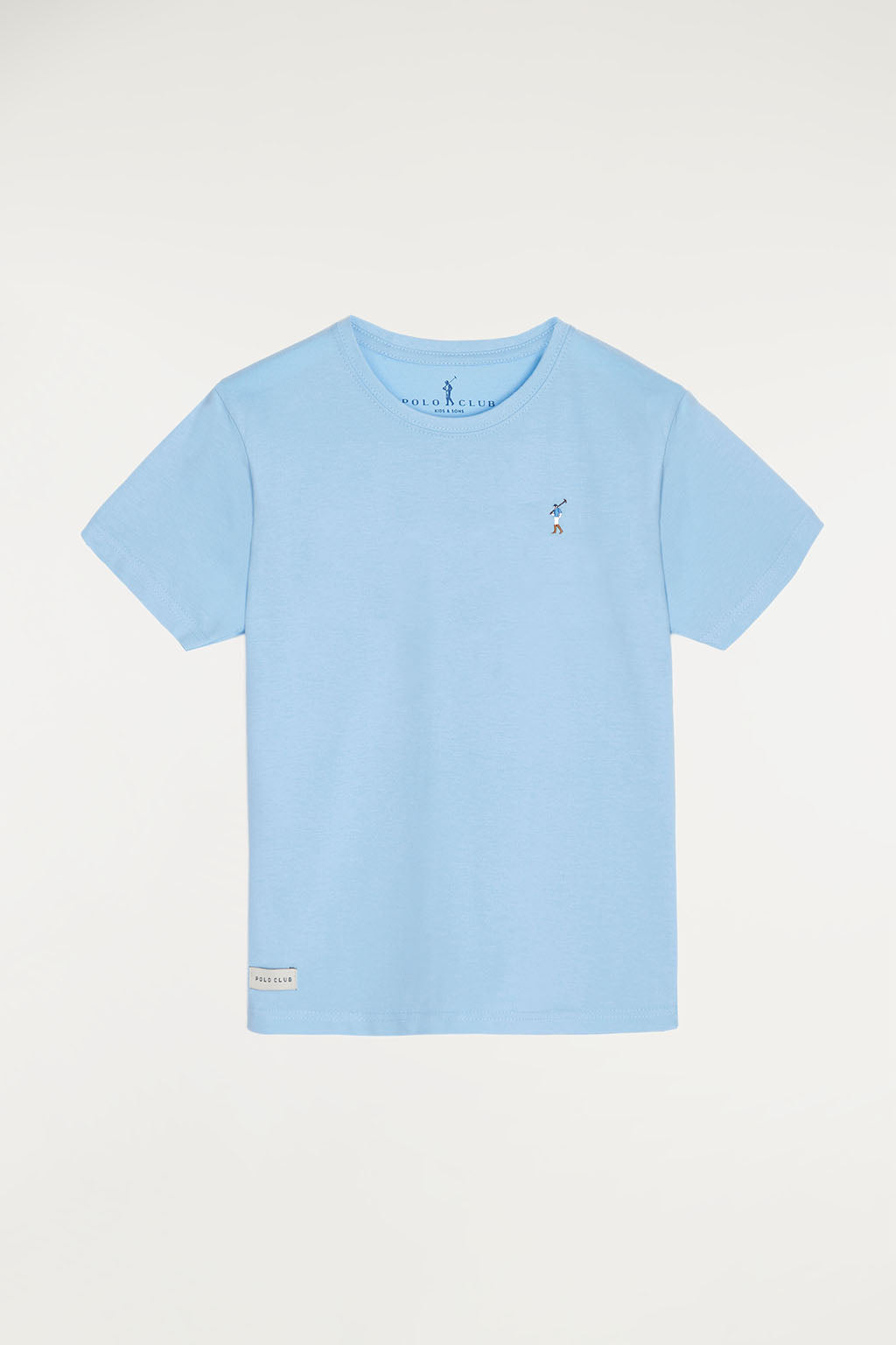 Sky blue tee with small multicoloured embroidered logo