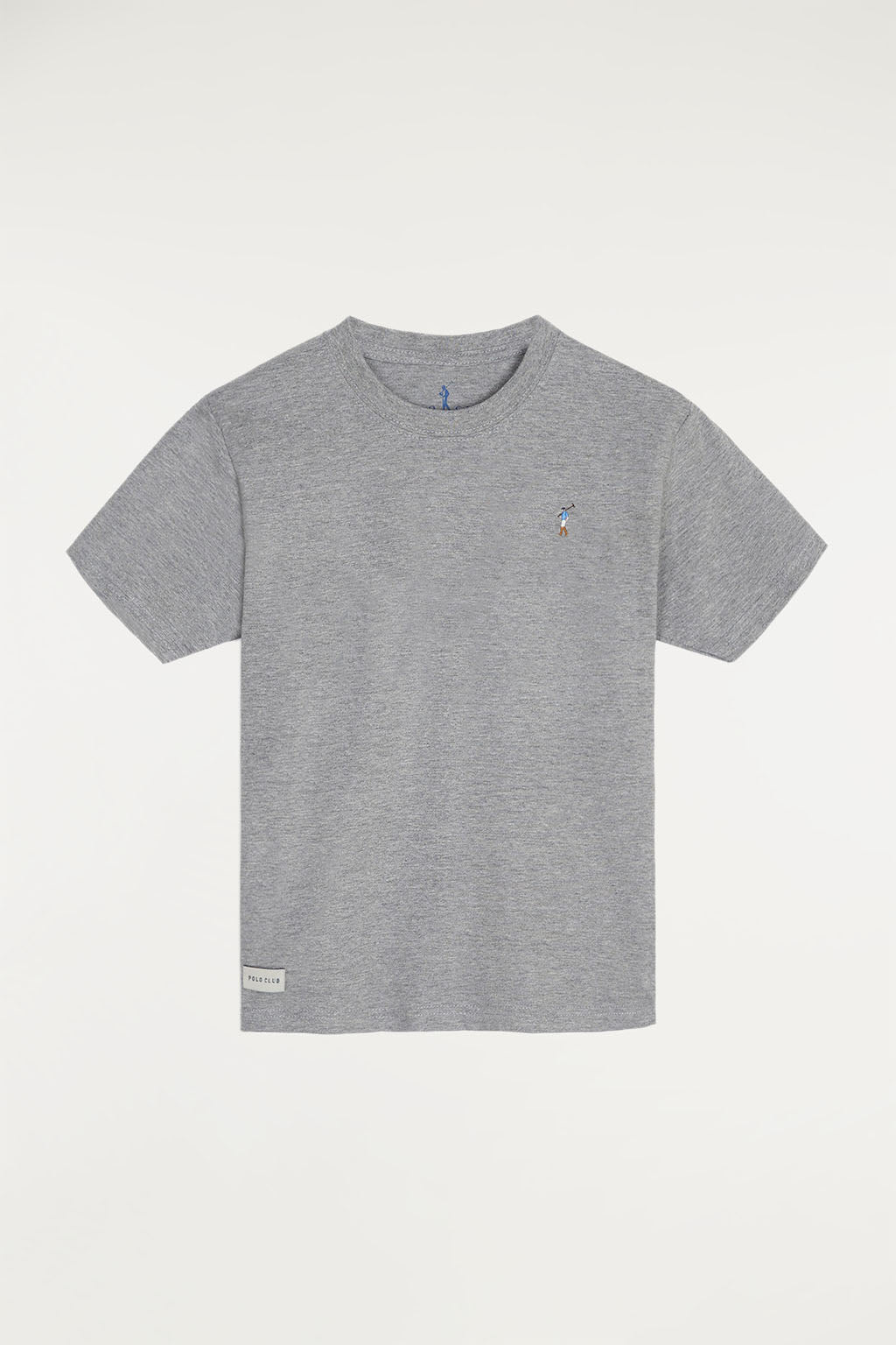 Grey vigore tee with small multicoloured embroidered logo