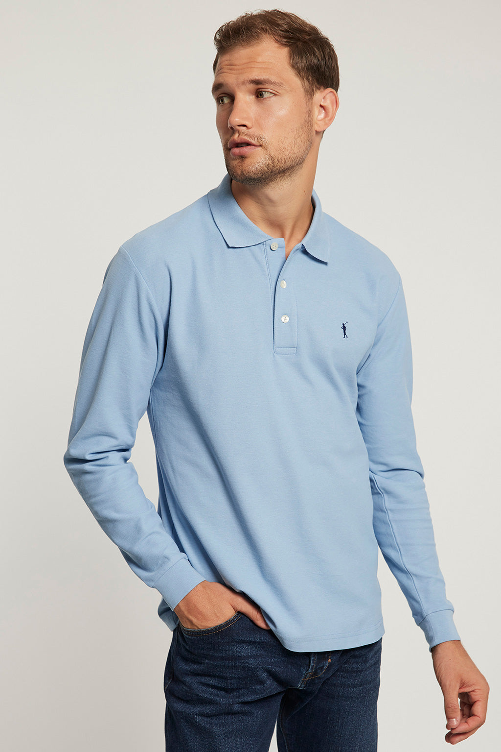 Sky blue long sleeve polo shirt with contrast embroidered logo