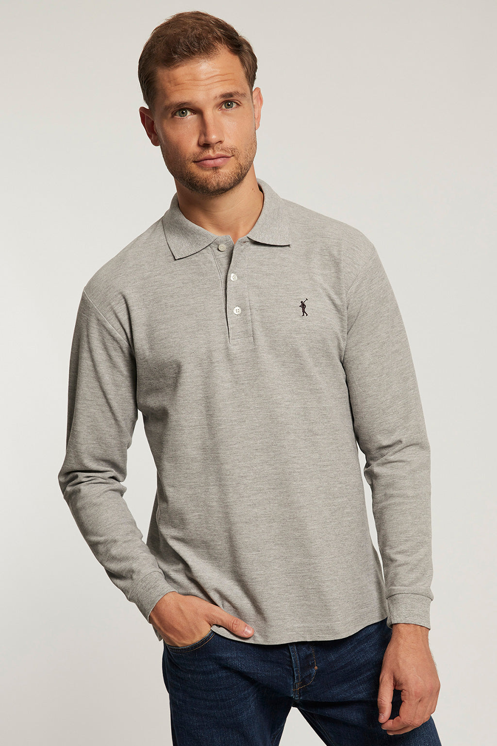Grey long sleeve polo shirt with contrast embroidered logo
