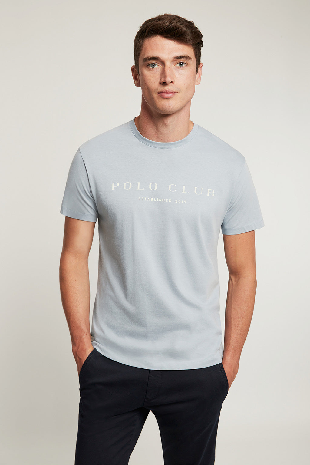 Pastel blue organic tee with print
