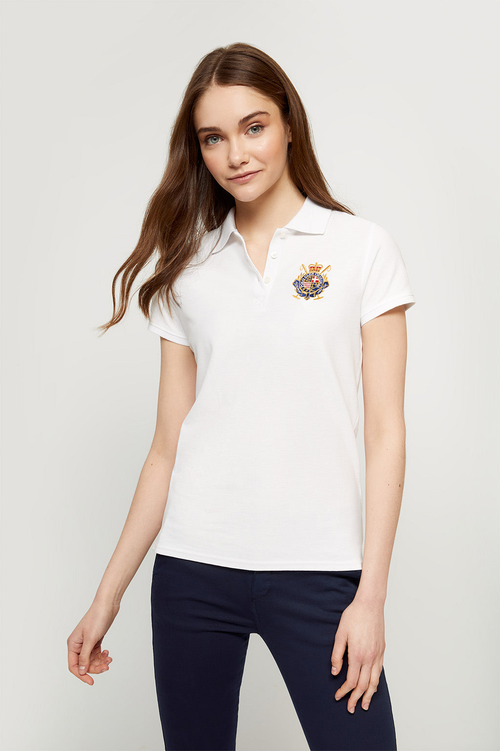 White nautical polo shirt with embroidered patch