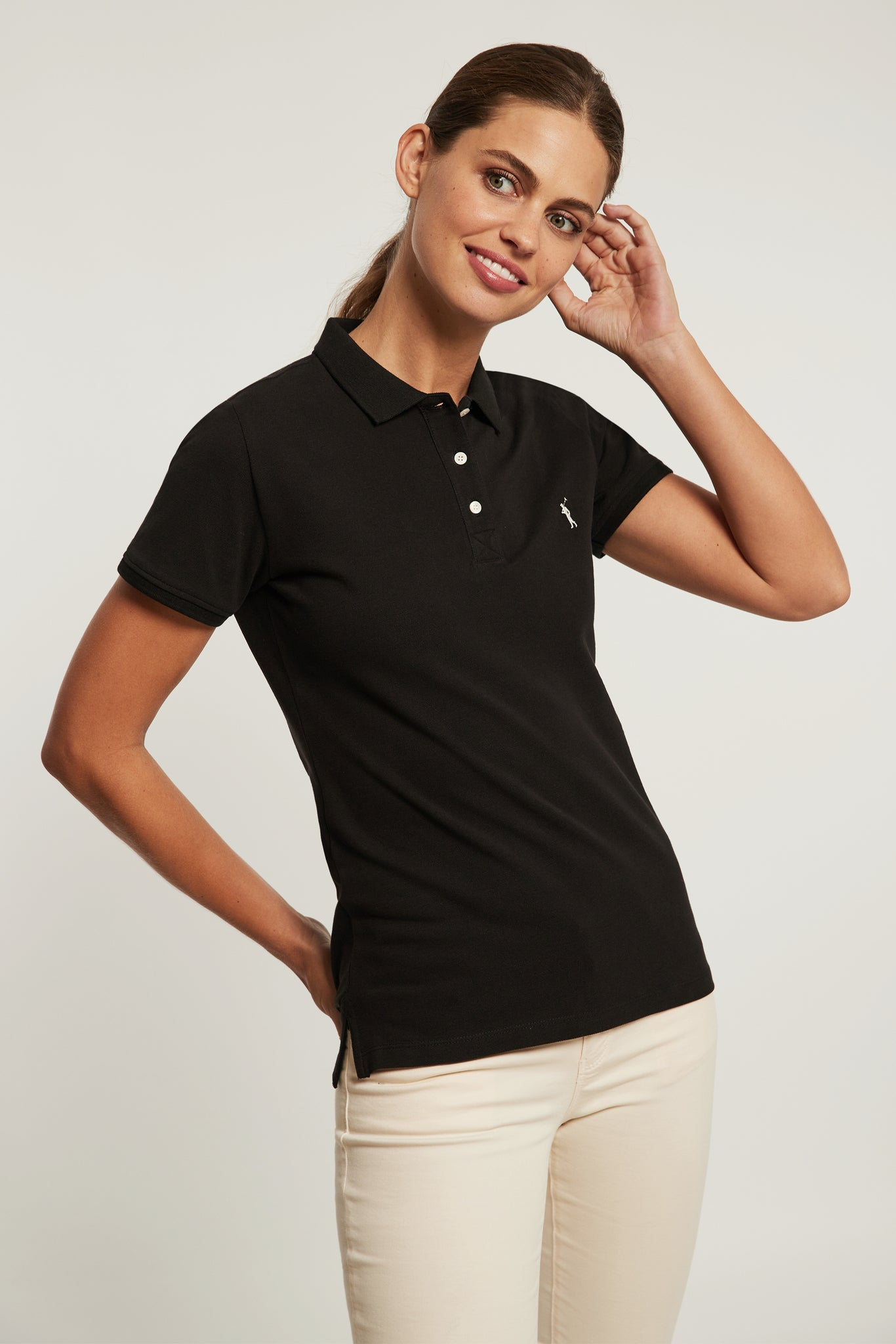 Black organic cotton polo shirt