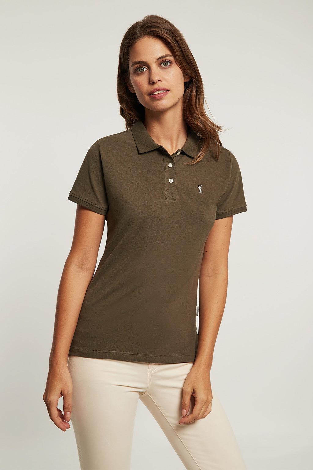 Khaki organic cotton polo shirt