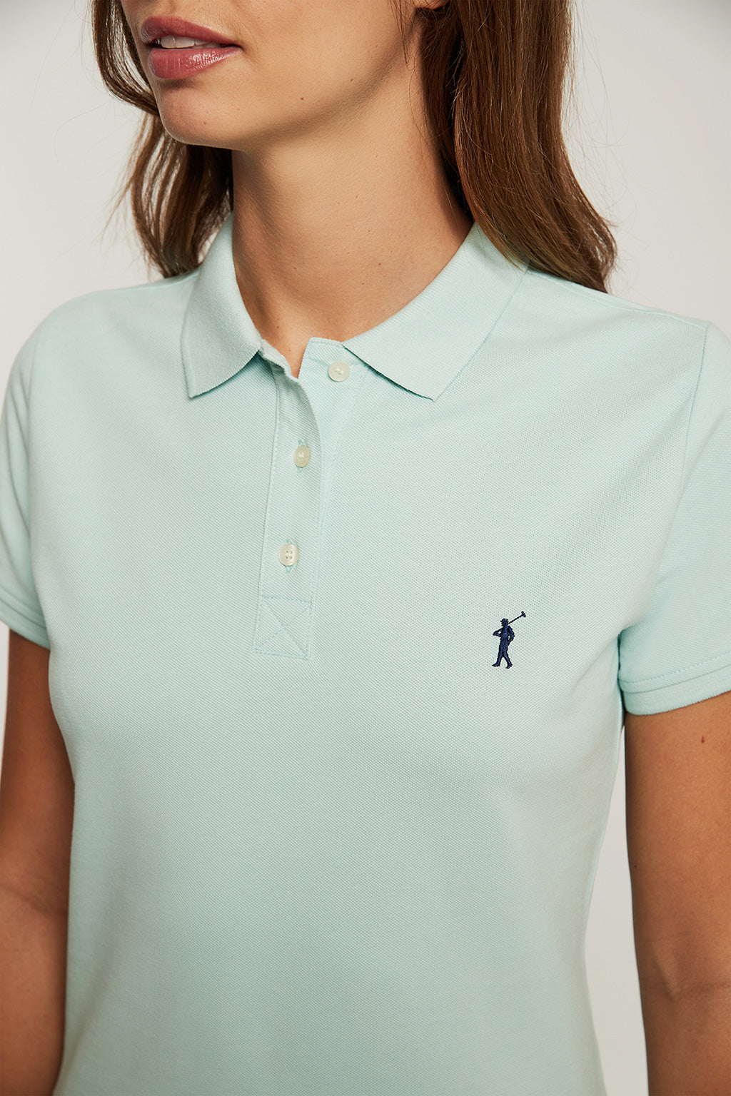 Aquamarine organic cotton polo shirt