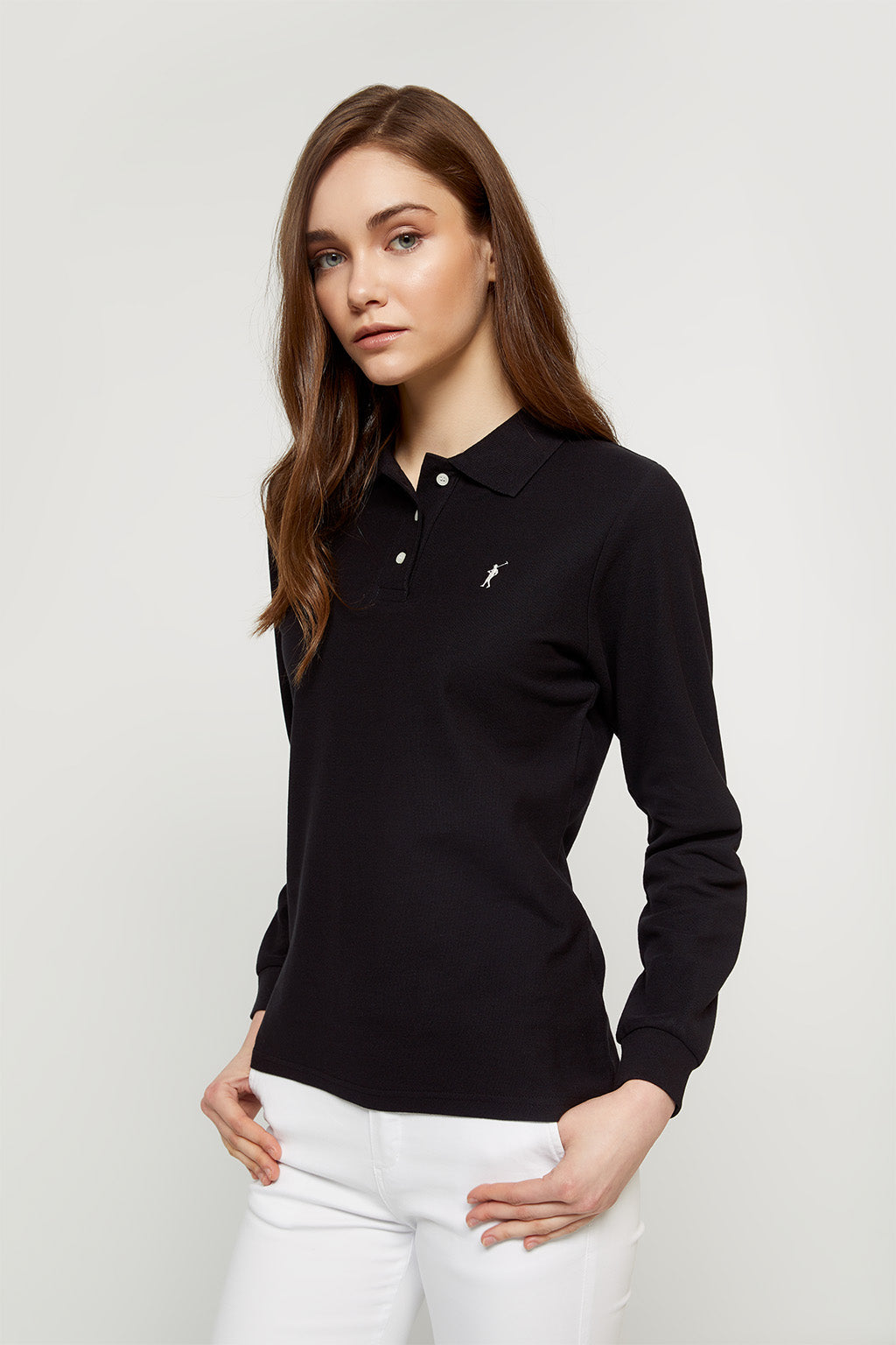 Black long sleeve polo shirt with contrast embroidered logo