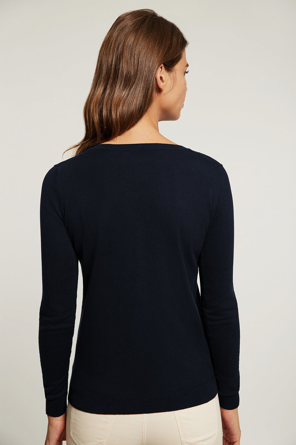 Navy blue V-neck light jumper