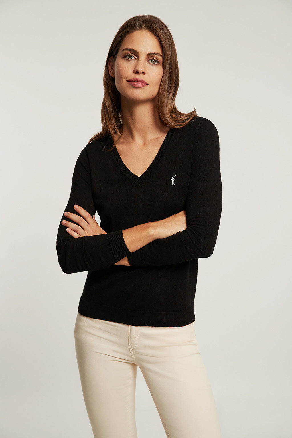 Black V-neck light jumper