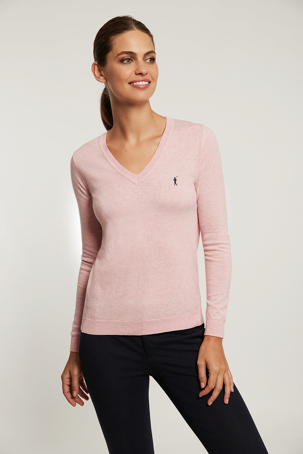 Pink V-neck light jumper