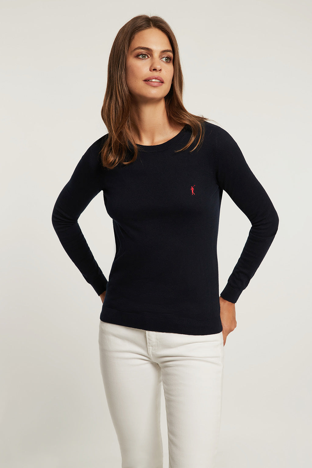 Navy blue round neck light jumper