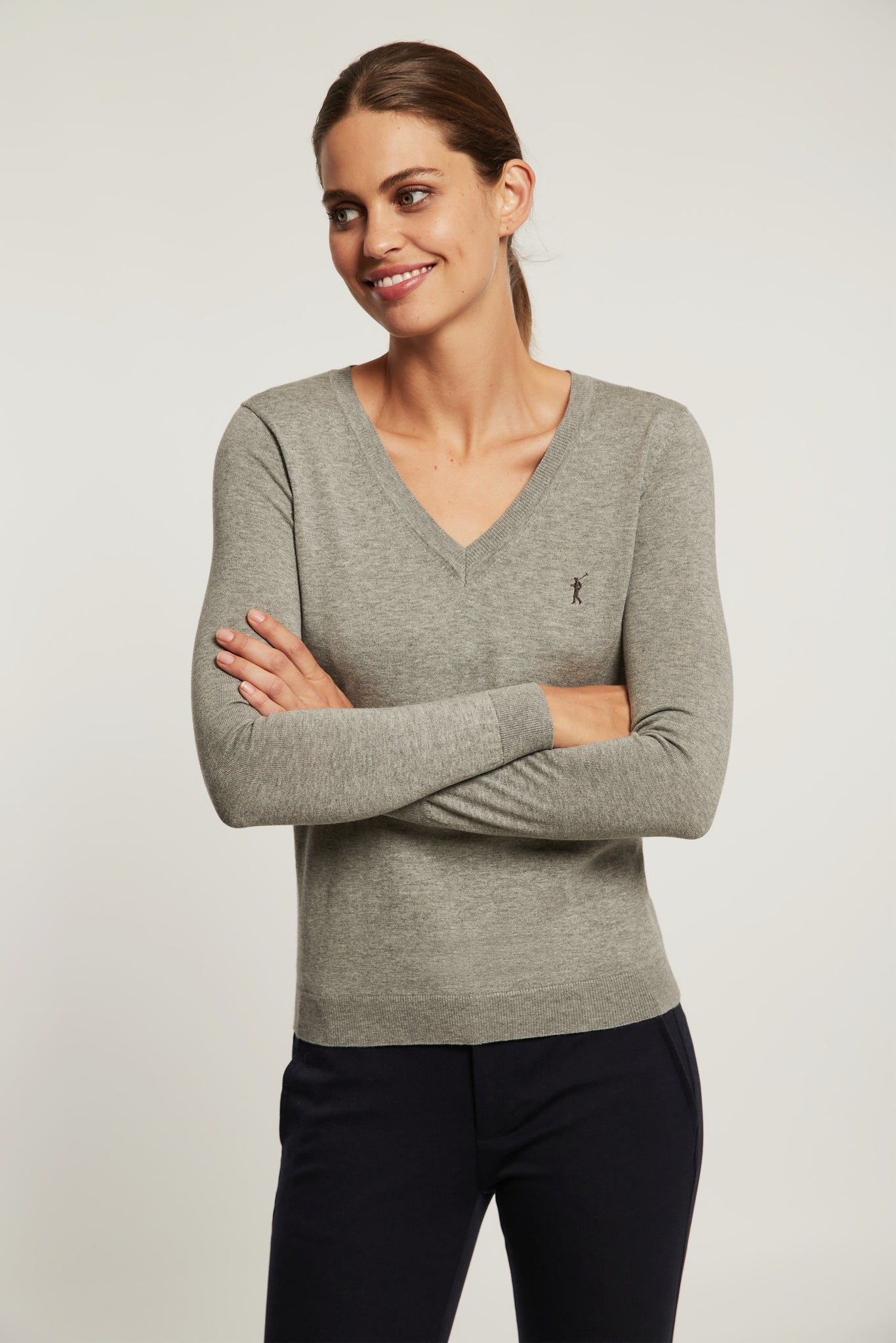 Grey V-neck light jumper
