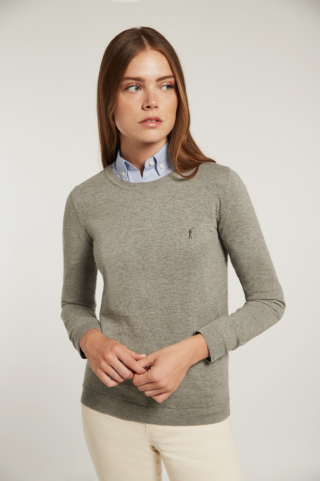 Grey round neck light jumper