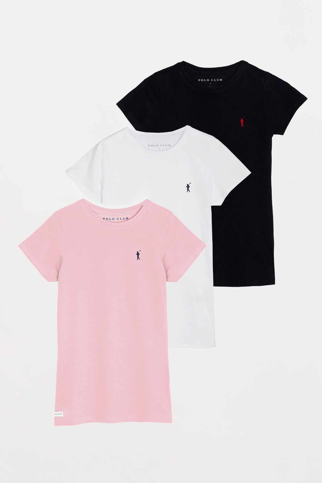Tee with embroidery 3 pack
