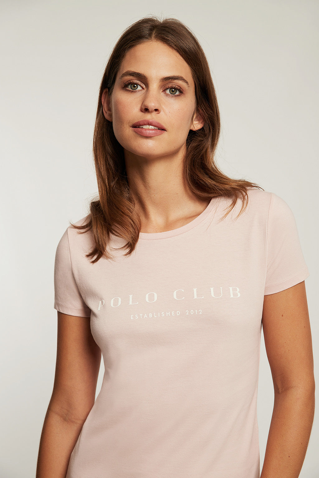 Pink organic cotton t-shirt with front print