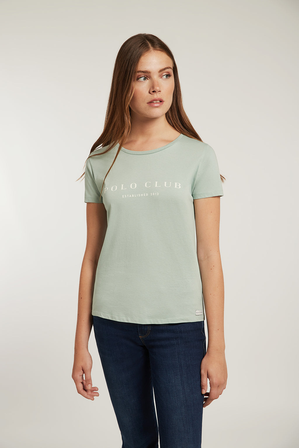 Salvia green organic cotton tee with front print