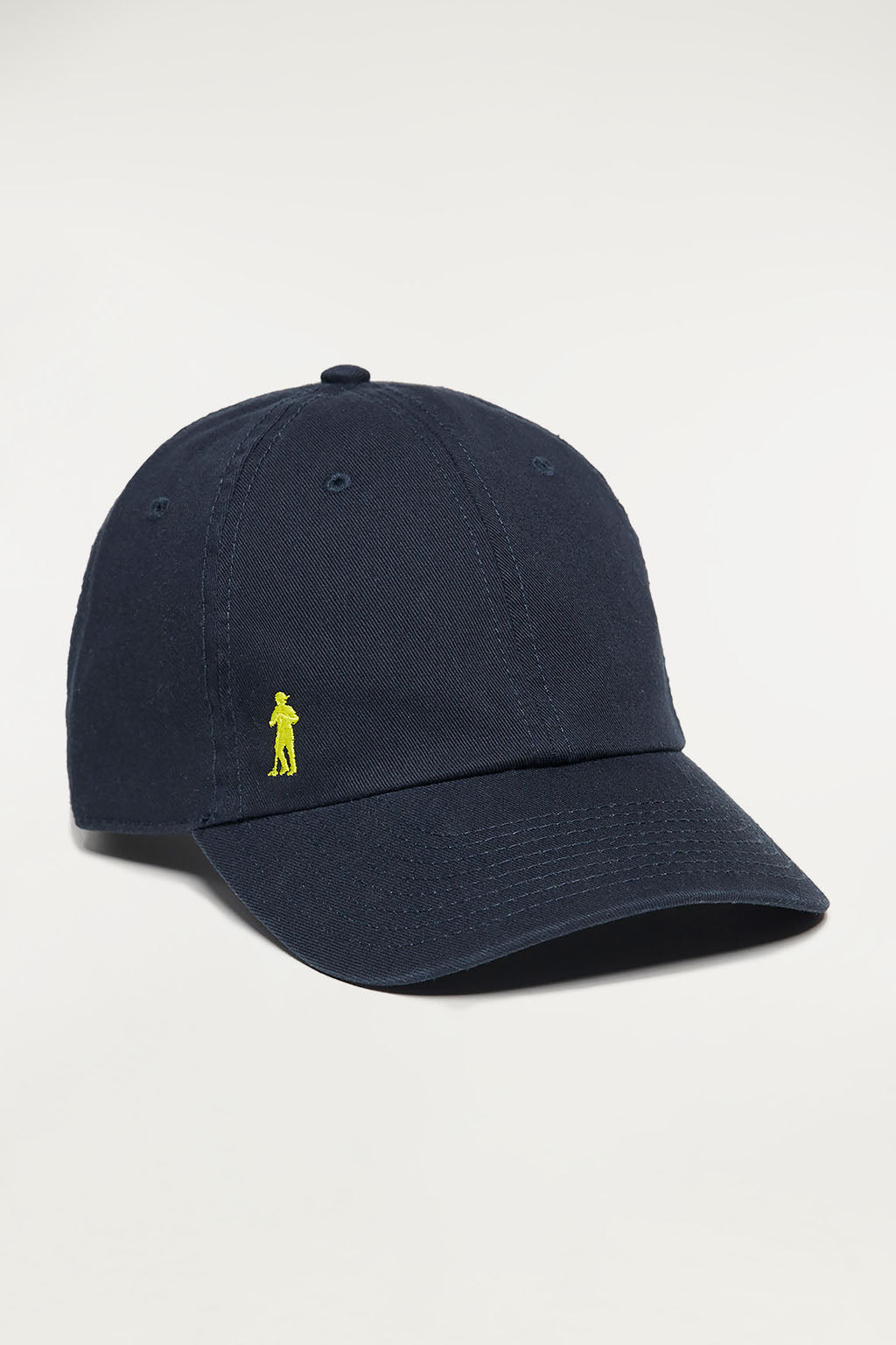 Navy blue twill cap with embroidered logo