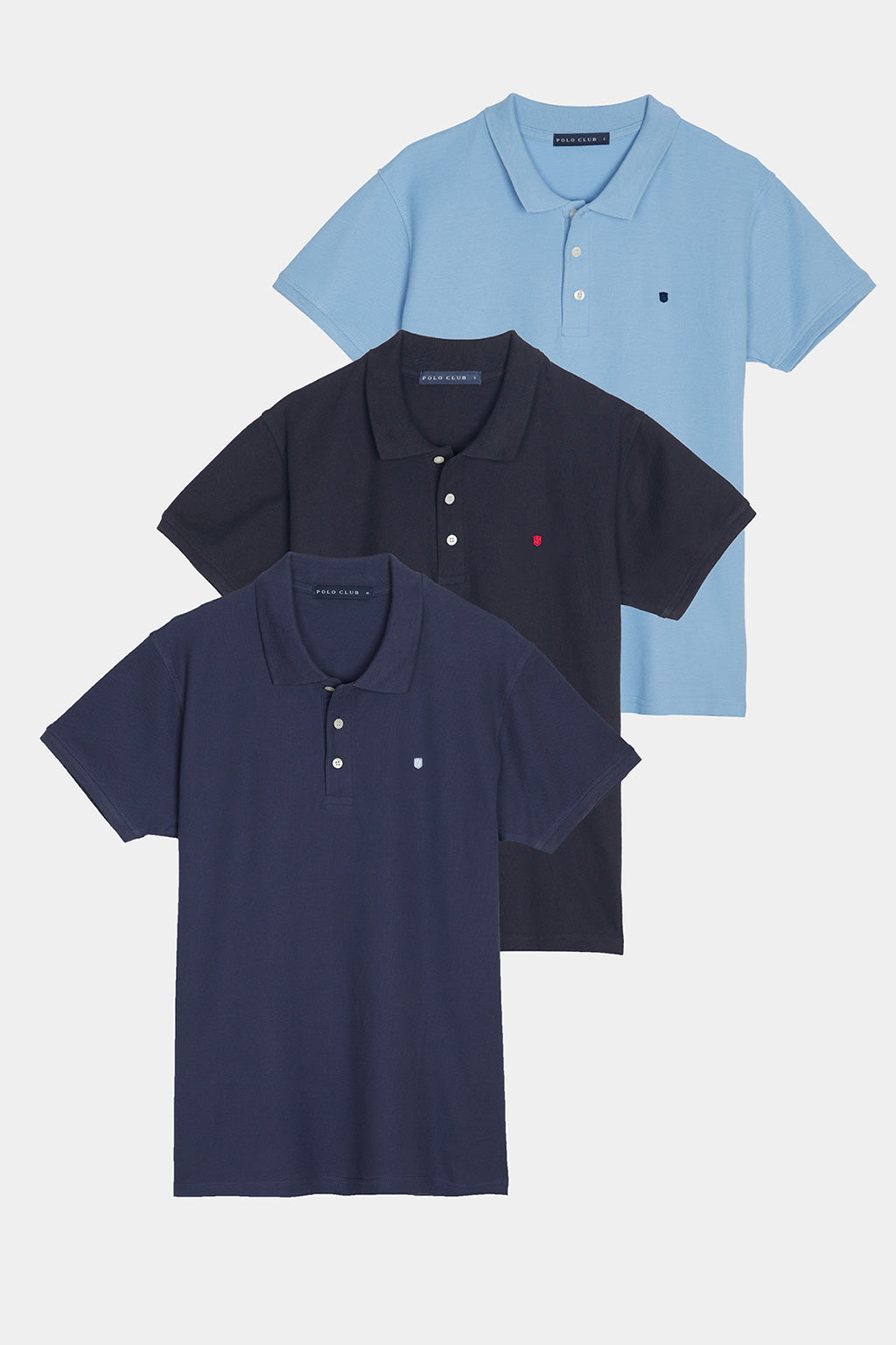 Polo shirt three pack in blue shades