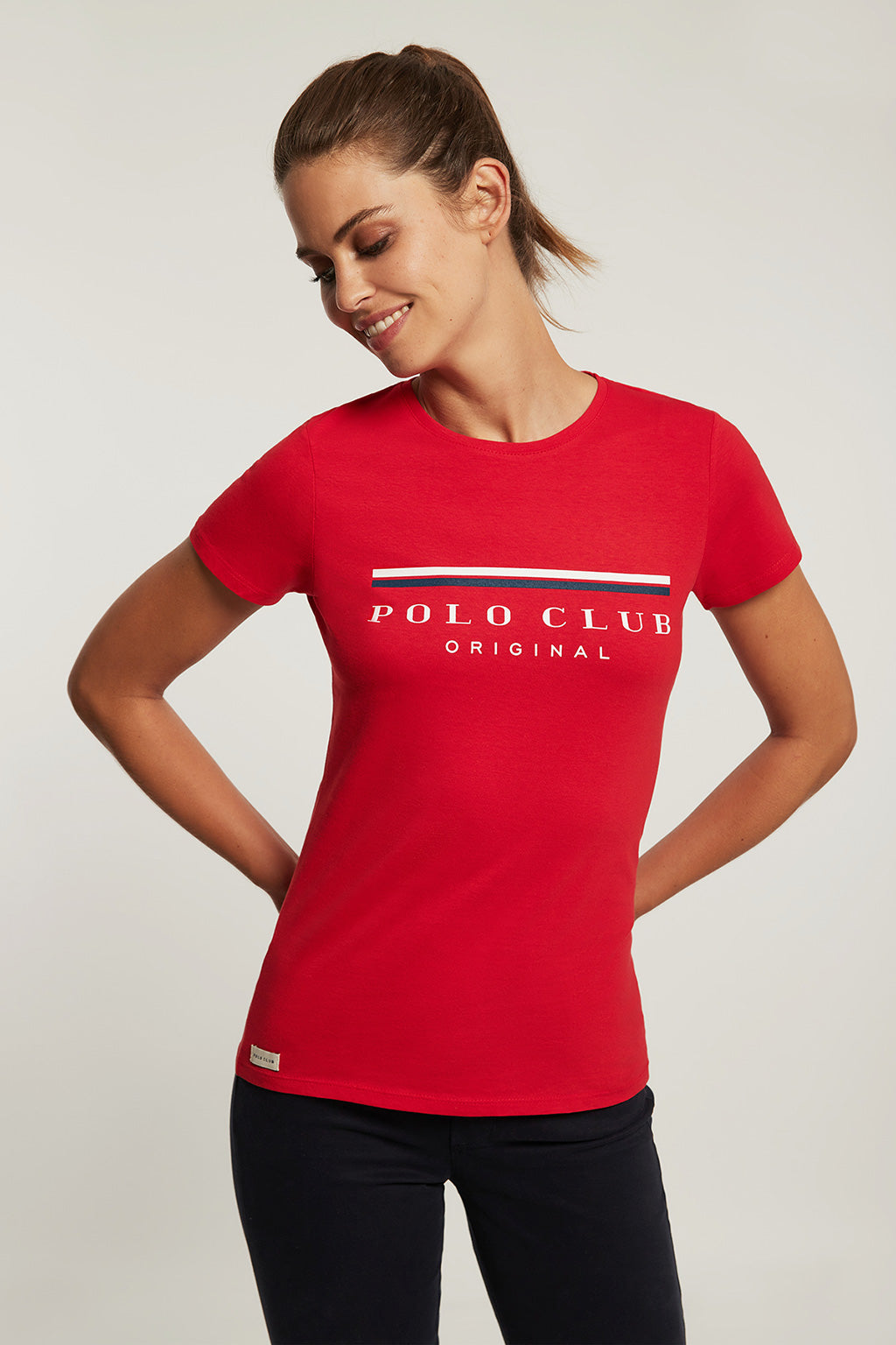Red tee with bi-coloured front print