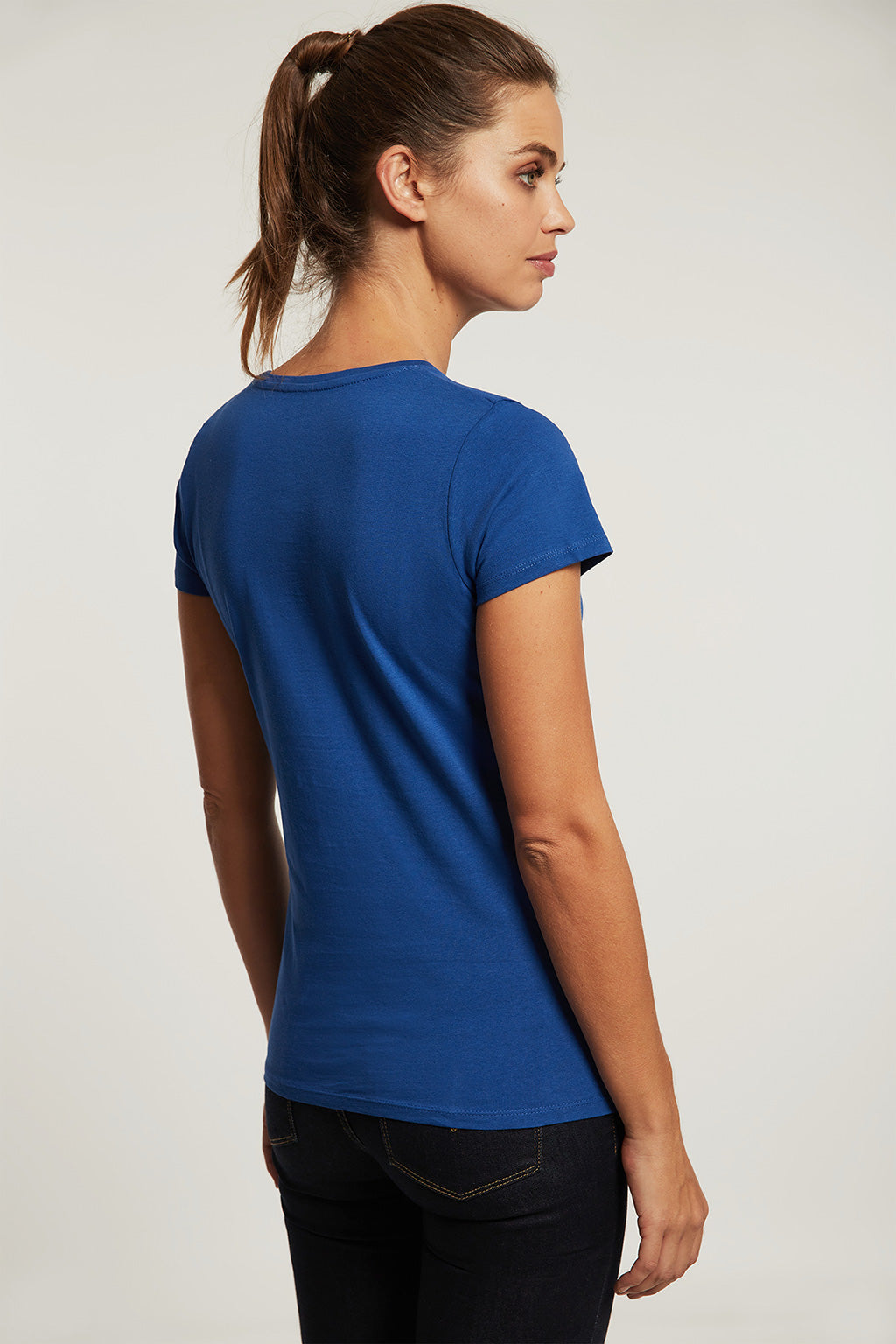 Royal blue tee with bi-coloured front print