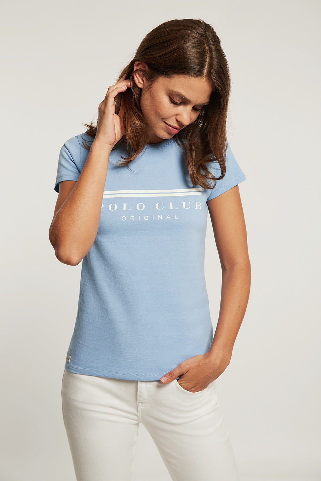 Sky blue tee with bi-coloured front print