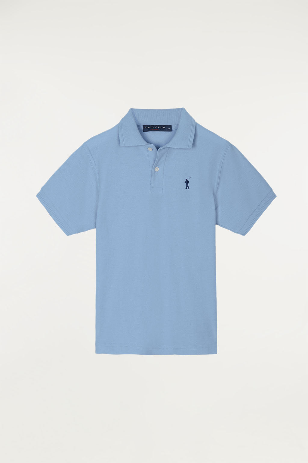 Sky blue polo shirt for kids with contrast embroidered logo