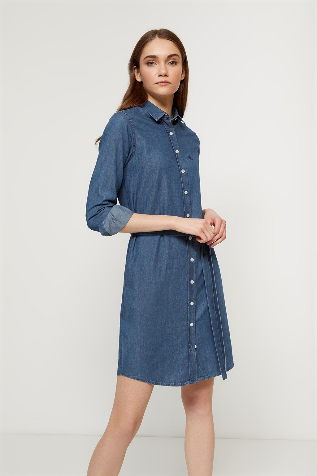 Denim shirtdress with belt