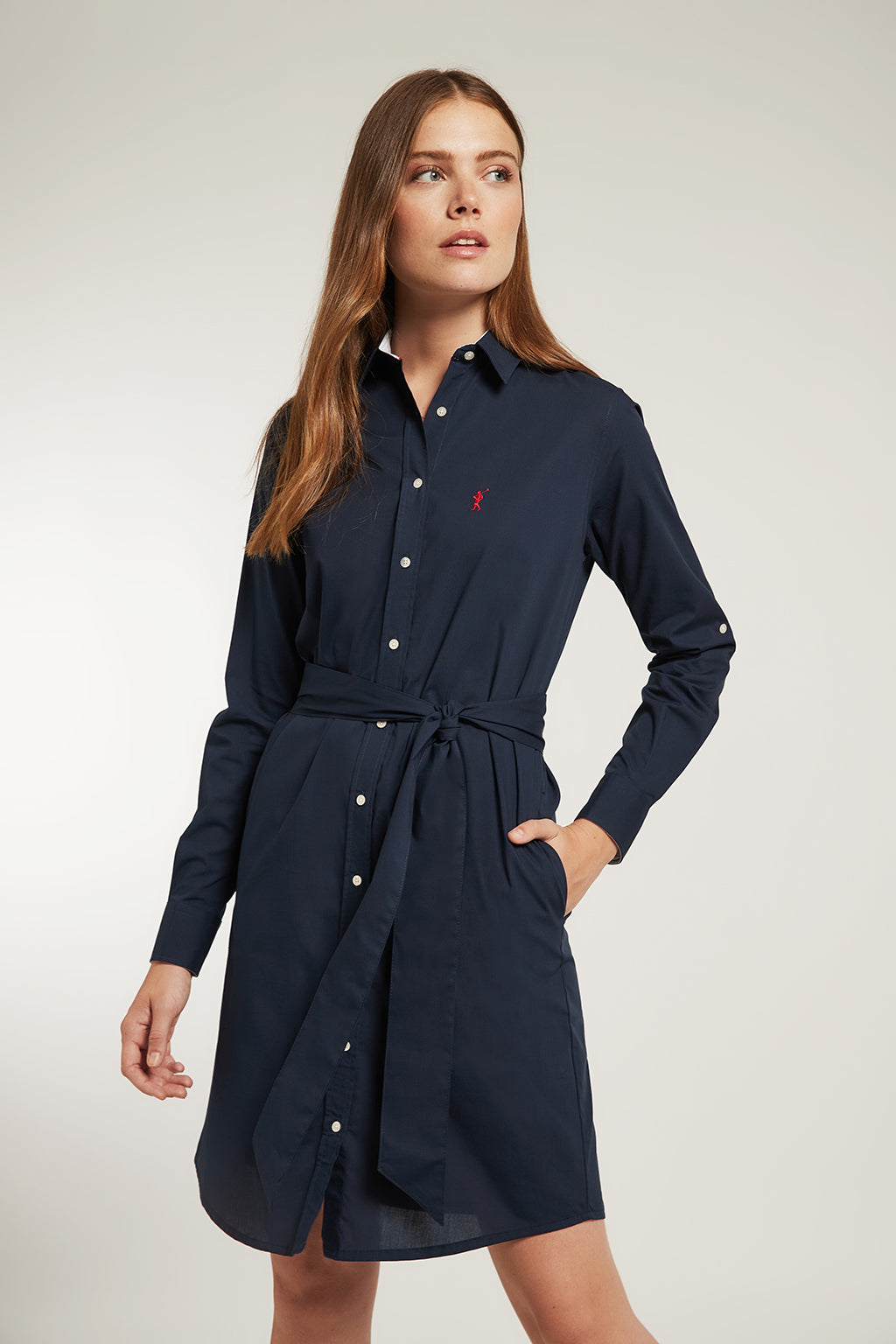 Navy blue shirtdress in elastic cotton