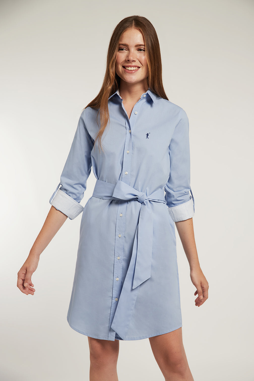Sky blue shirtdress in elastic cotton