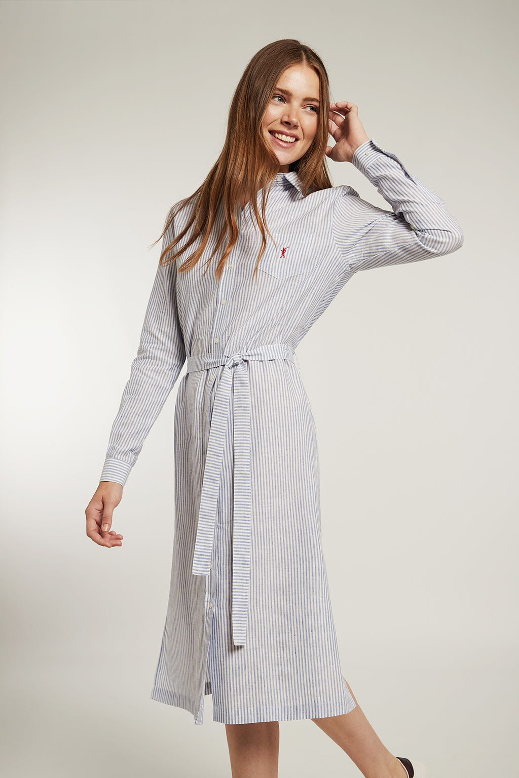 Linen and cotton dress with blue stripes