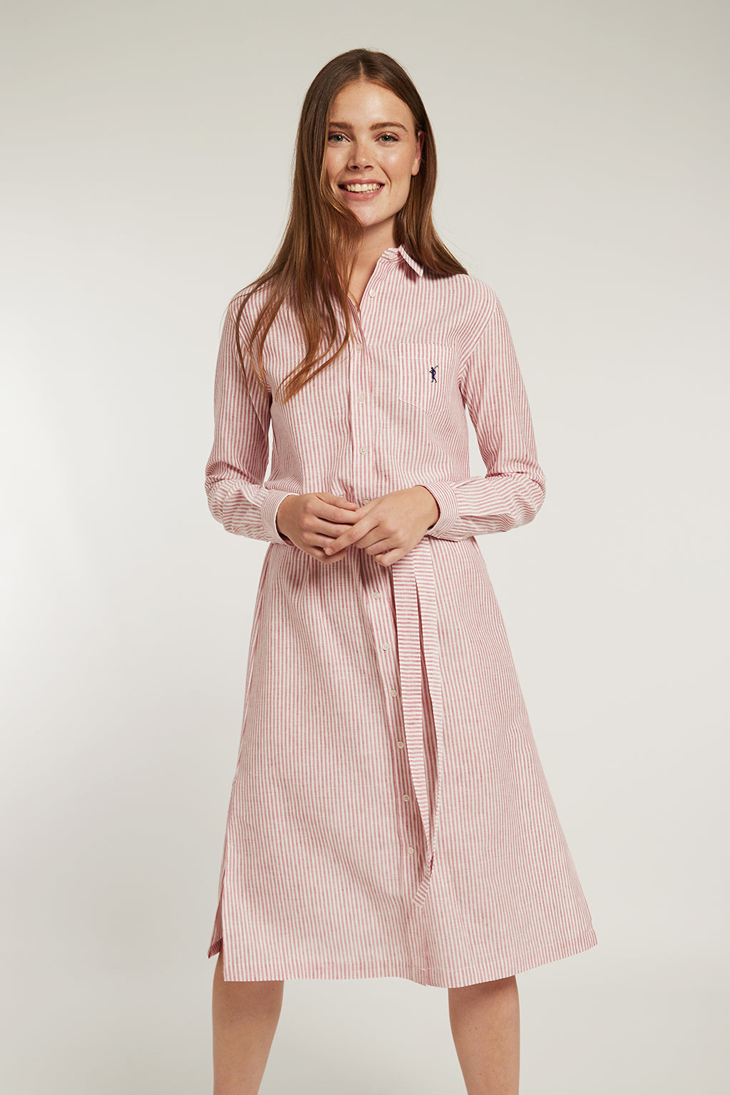 Linen and cotton dress with red stripes