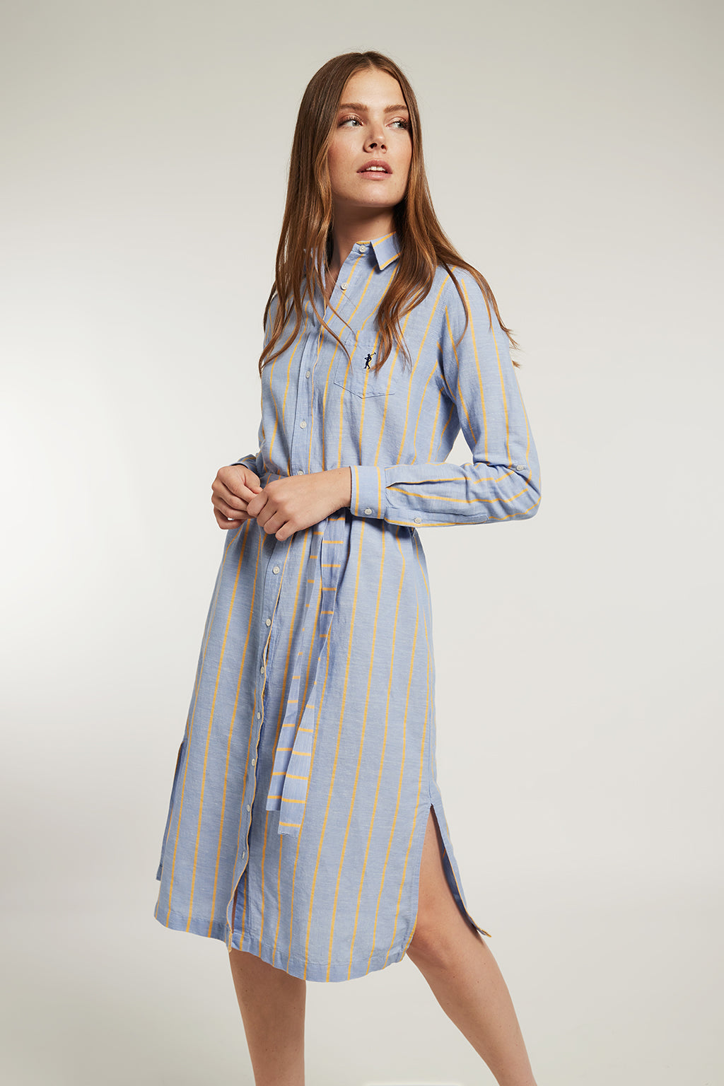 Sky blue linen and cotton dress with yellow stripes