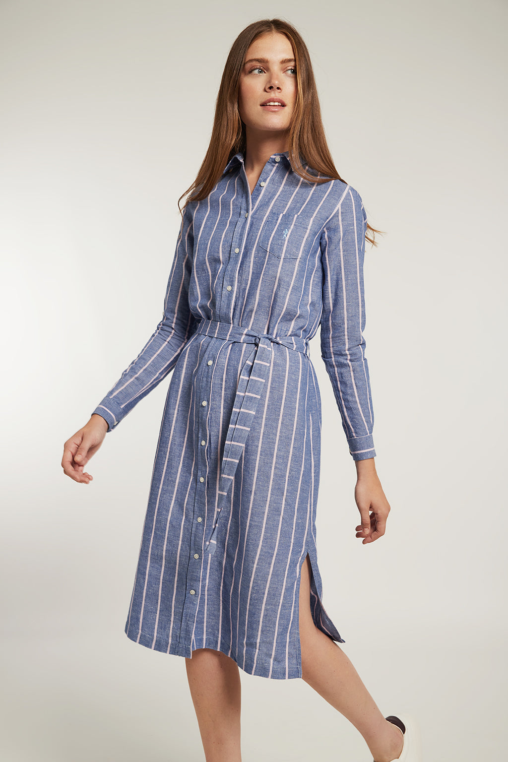 Blue linen and cotton dress with violet stripes