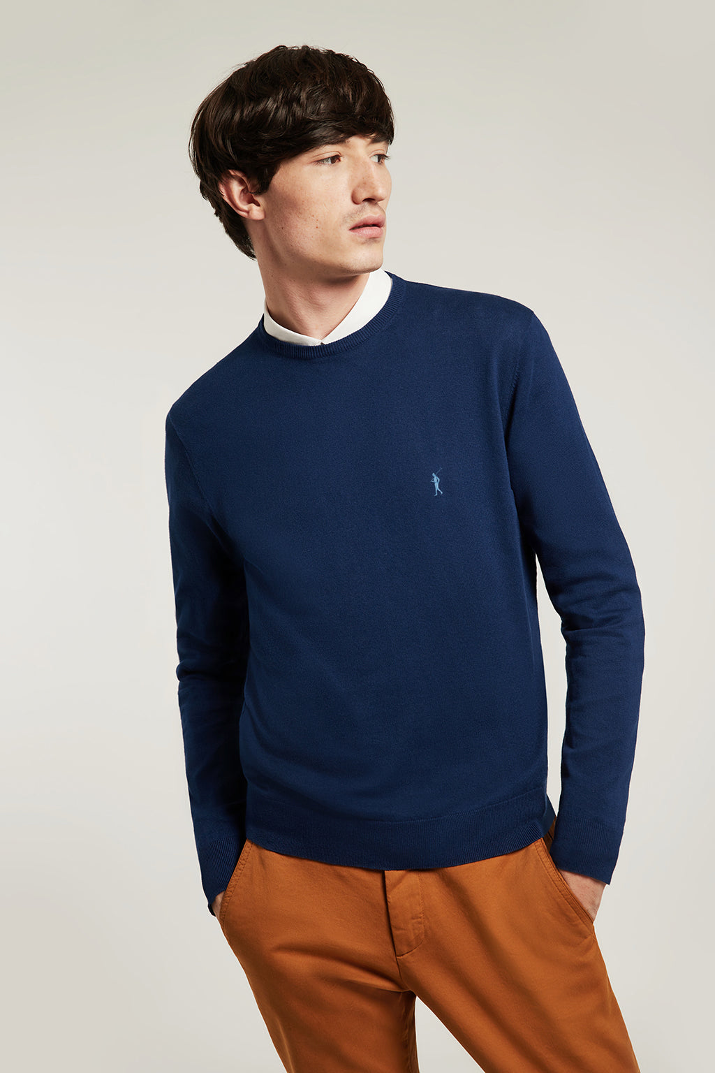 Indigo blue round neck jumper with embroidered logo