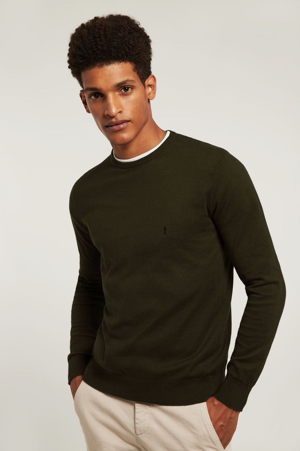 Khaki round neck jumper with embroidered logo