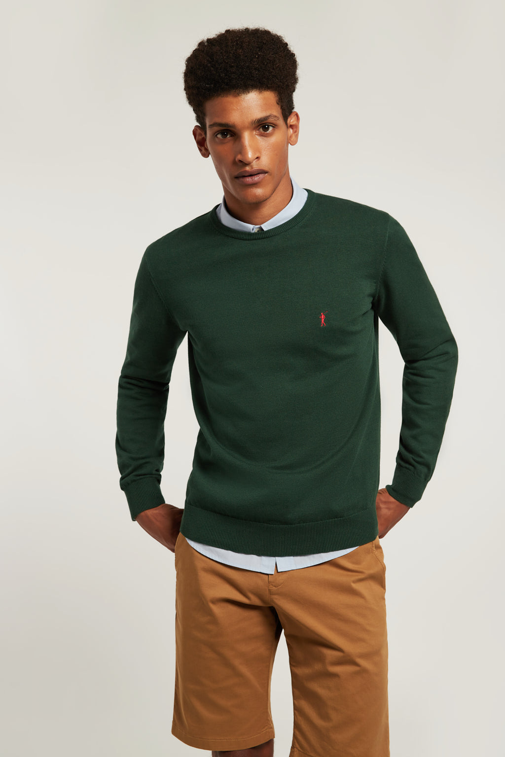 Bottle green round neck jumper with embroidered logo