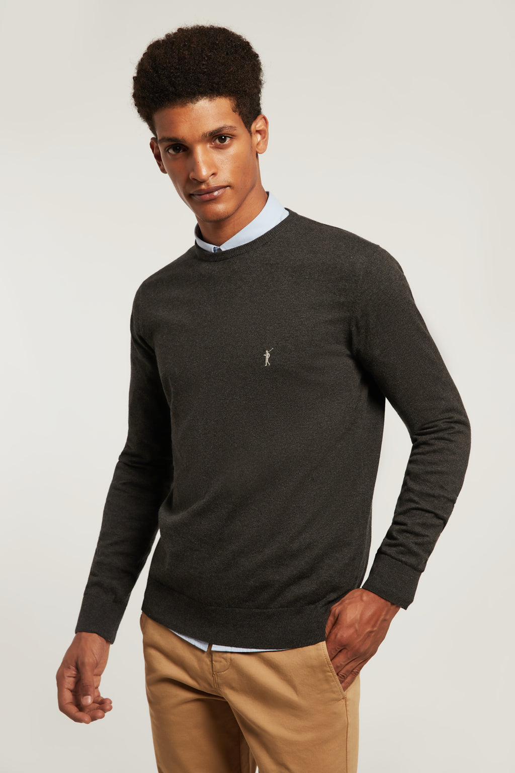 Lead grey vigore round neck jumper with embroidered logo