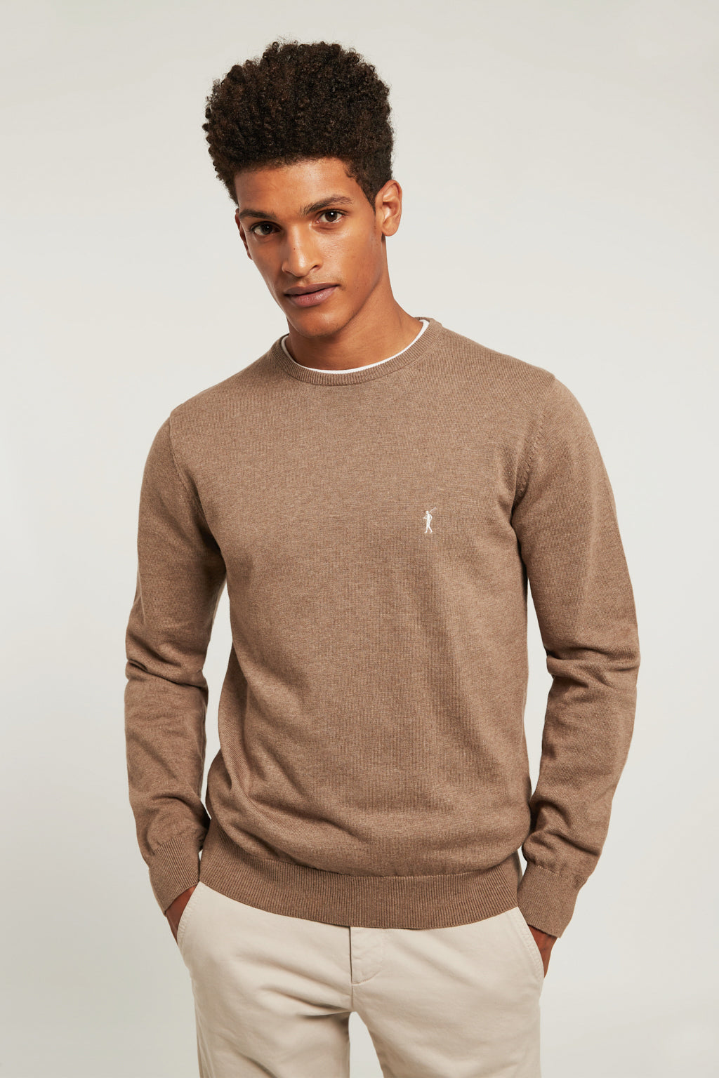 Mink colour round neck jumper with embroidered logo