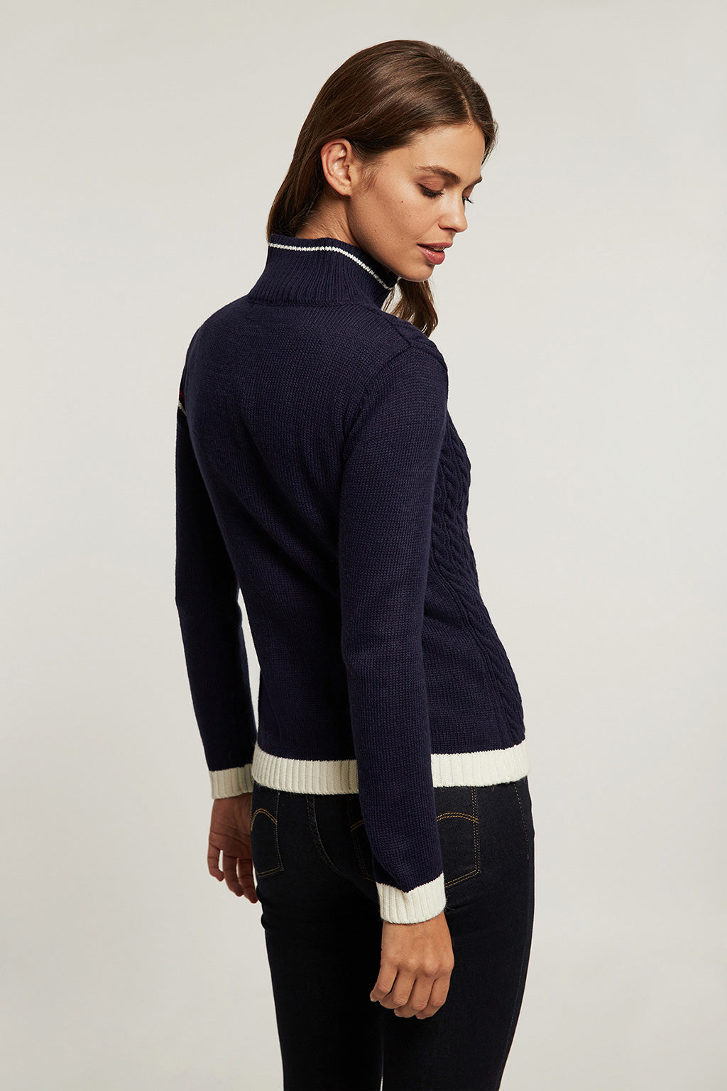 Nautical-inspired navy blue cardigan