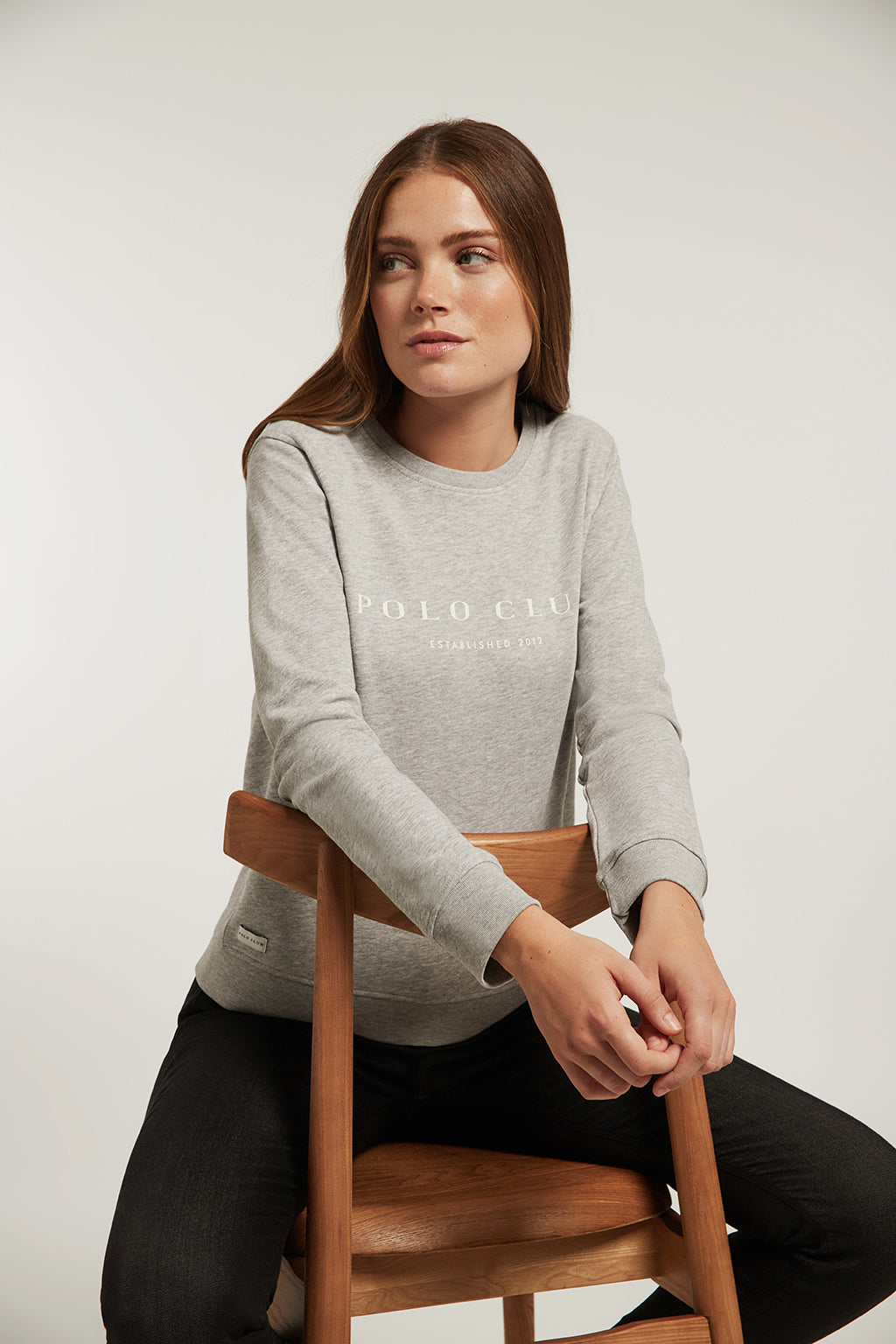 Grey vigore organic sweatshirt with front print