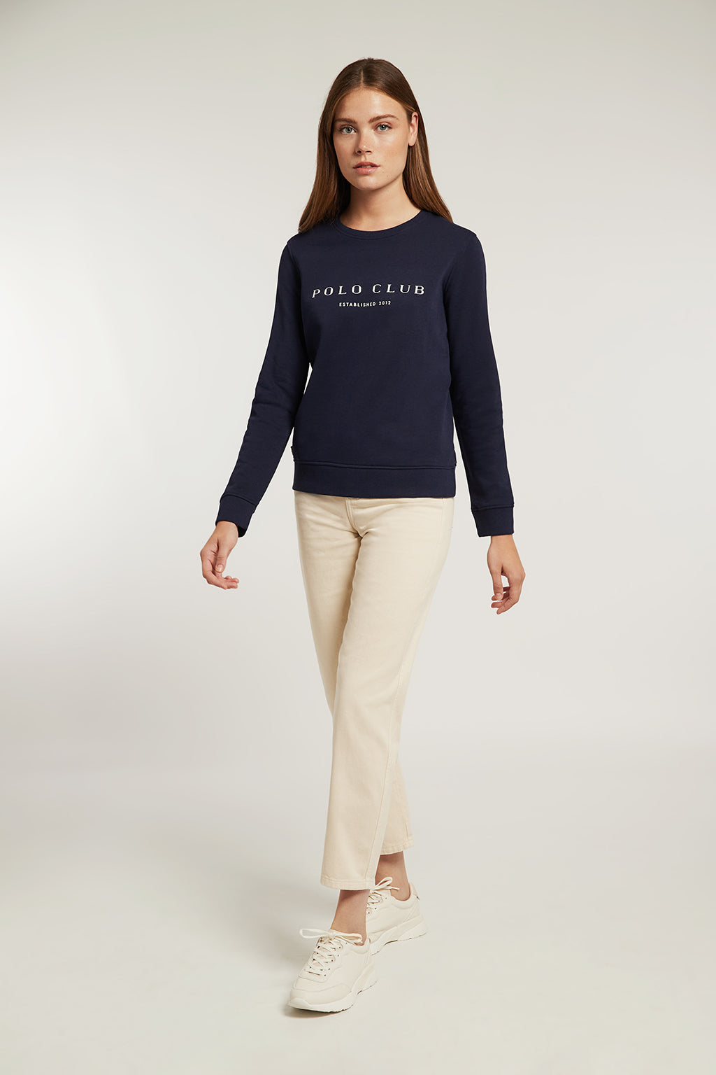 Navy blue organic sweatshirt with front print