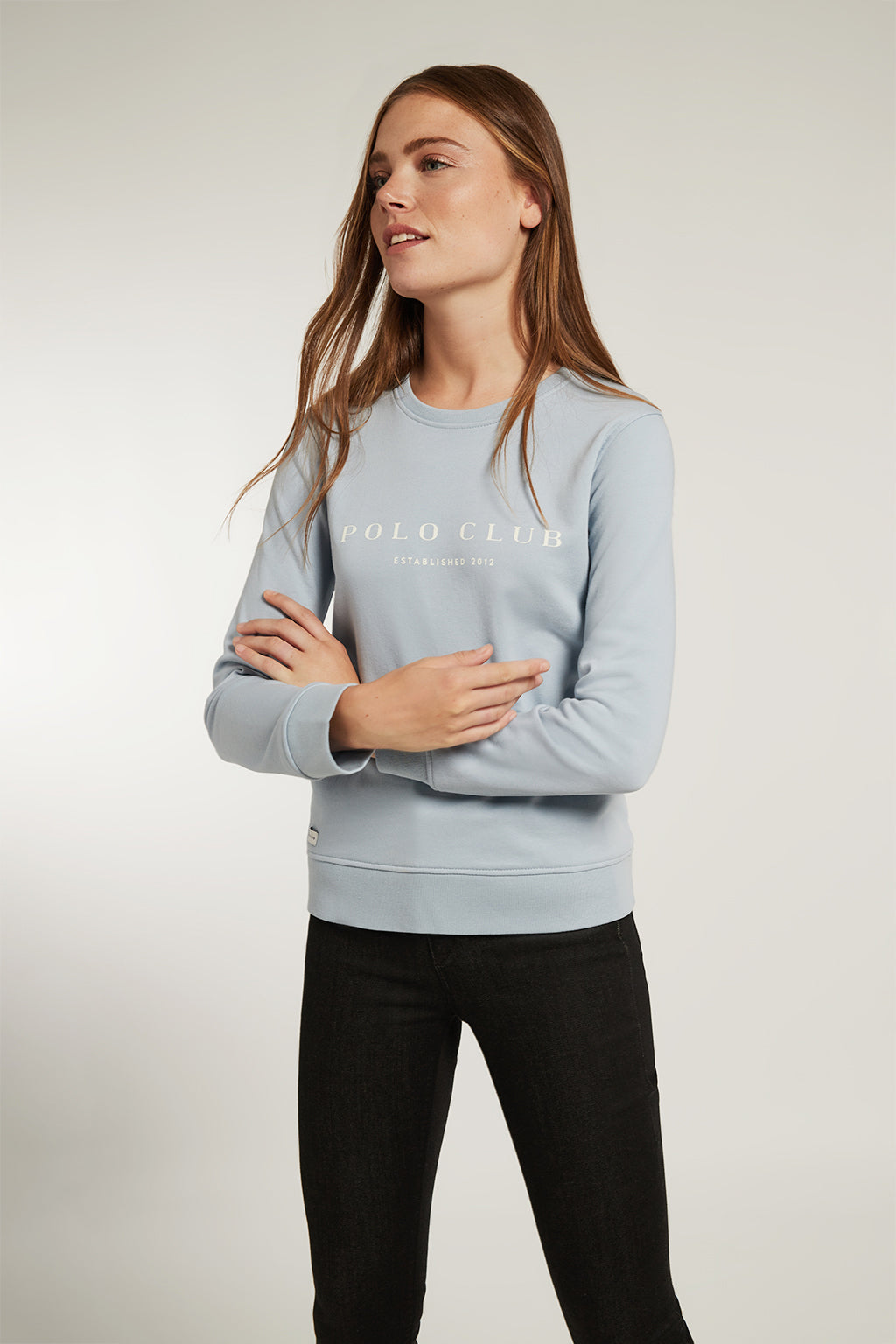Sky blue organic sweatshirt with front print