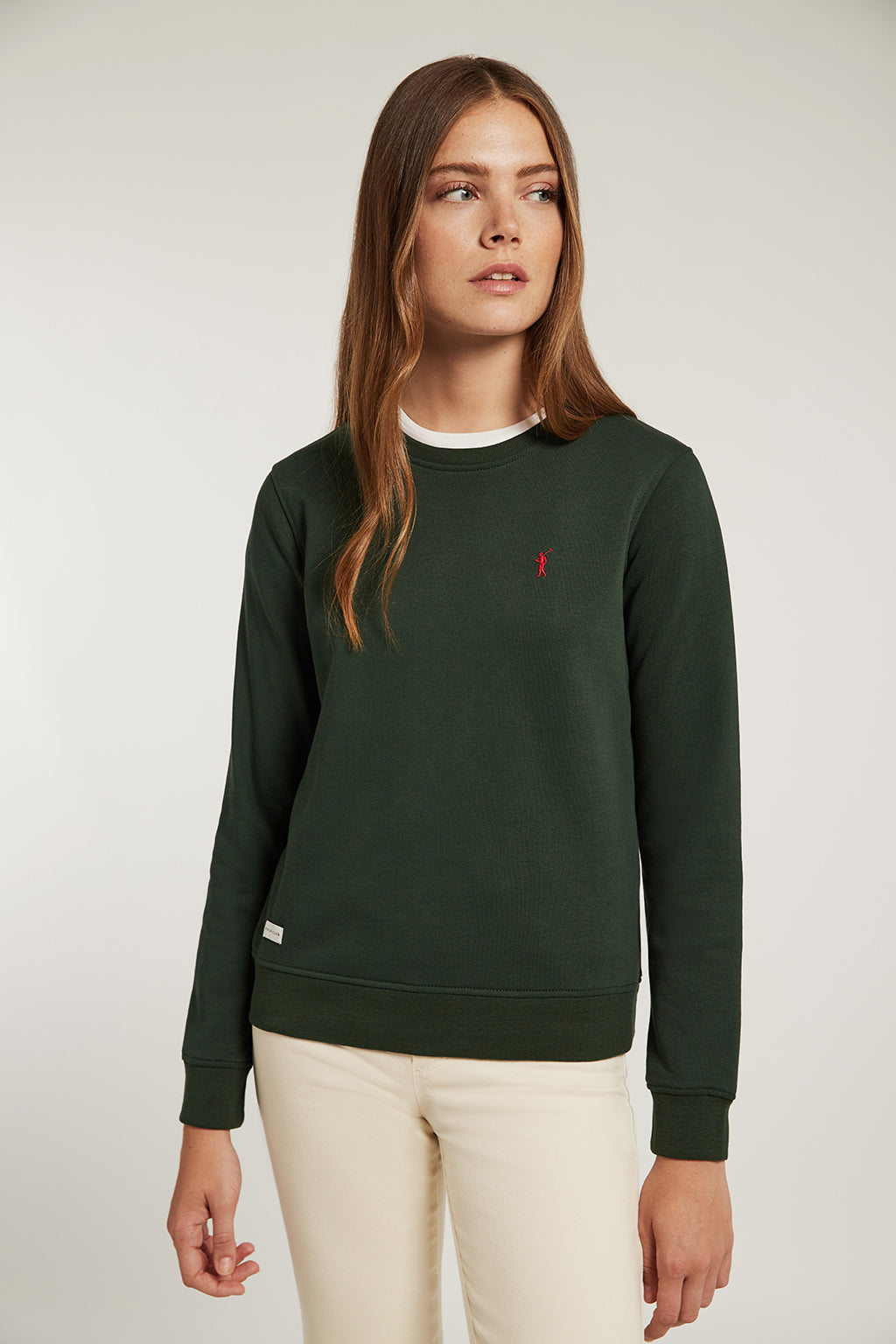 Bottle green round-neck sweatshirt made from organic cotton
