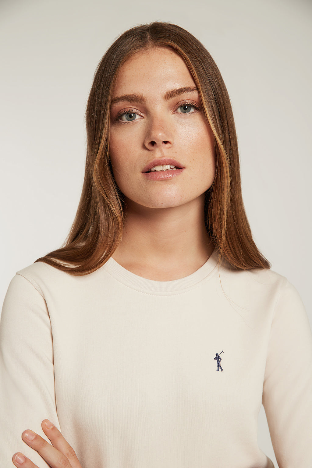 Nude organic sweatshirt with embroidered logo