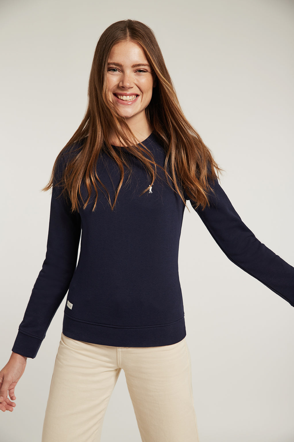 Navy blue organic sweatshirt with embroidered logo