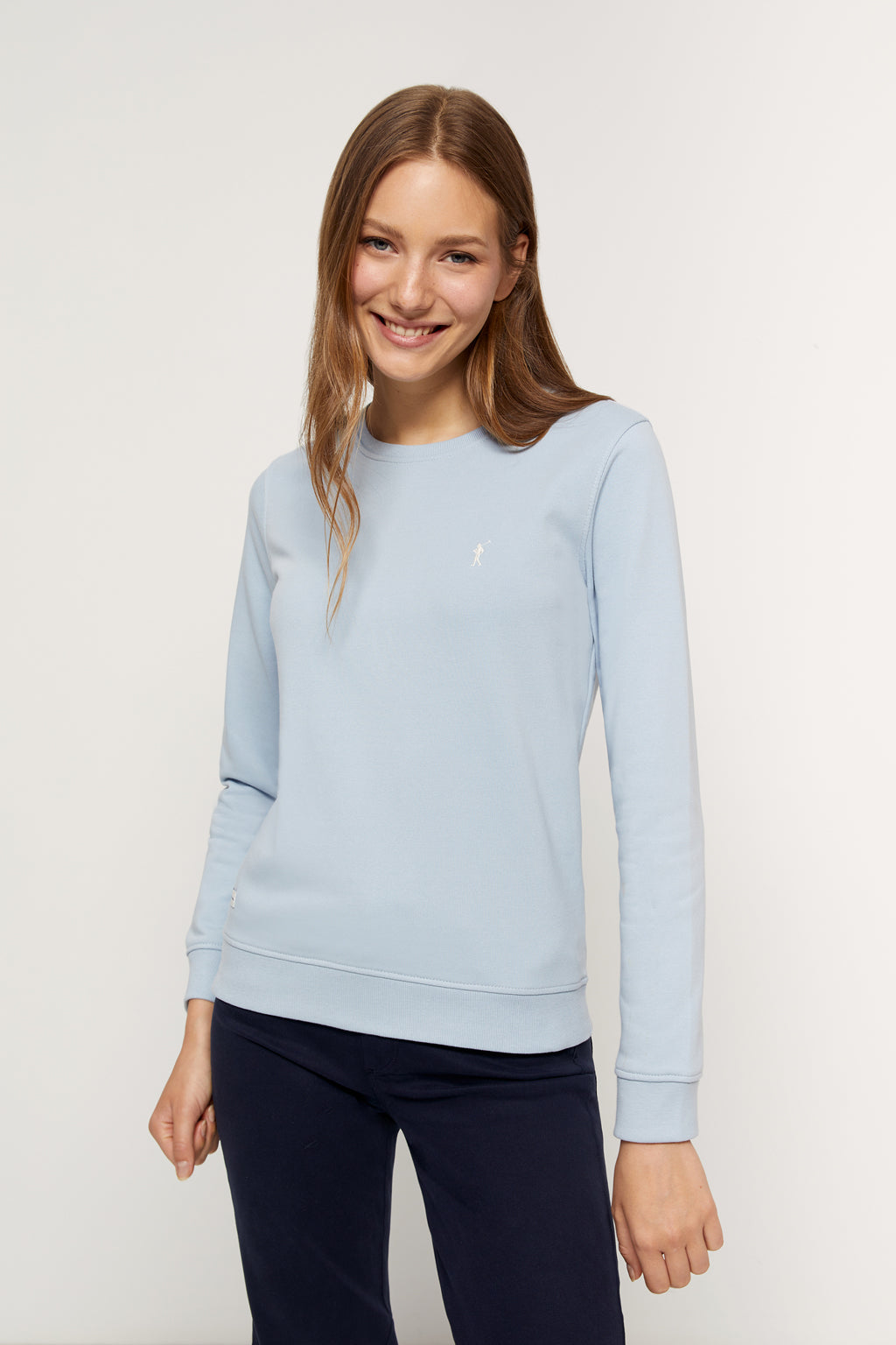 Sky blue organic sweatshirt with embroidered logo