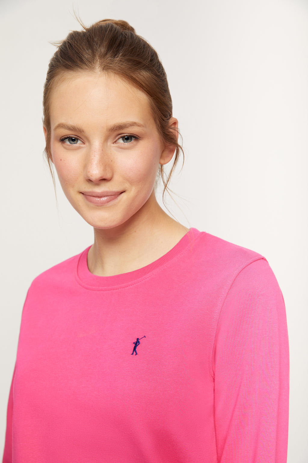 Fuchsia organic sweatshirt with embroidered logo