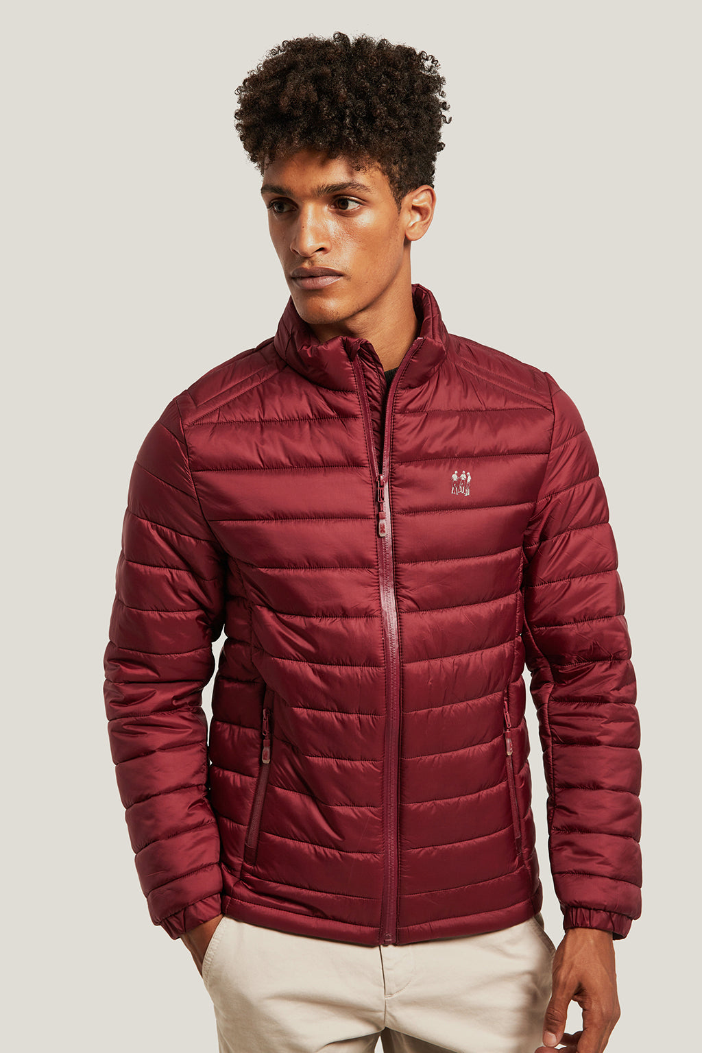 Maroon quilted jacket with high collar