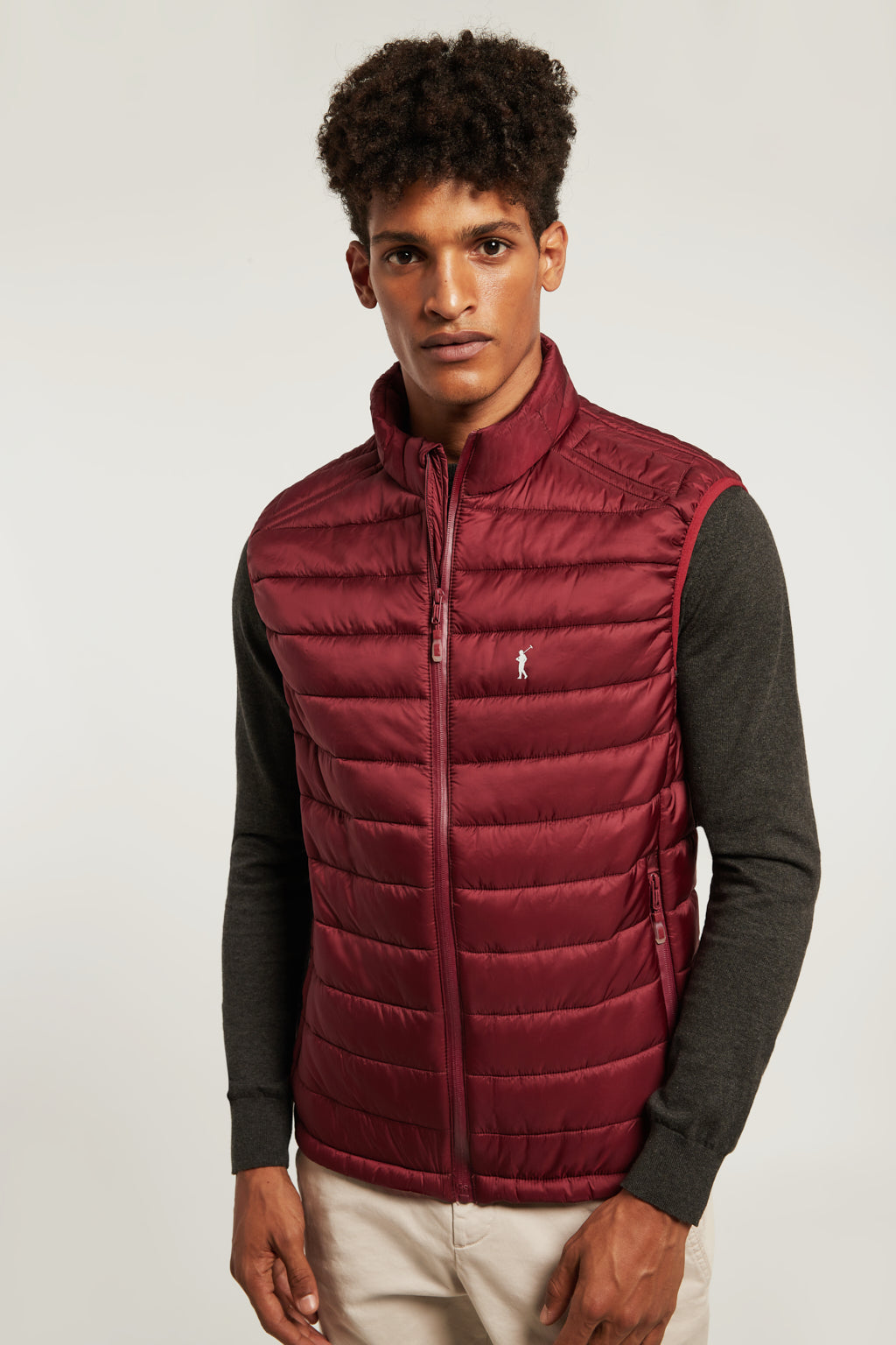 Maroon quilted vest with zip closure